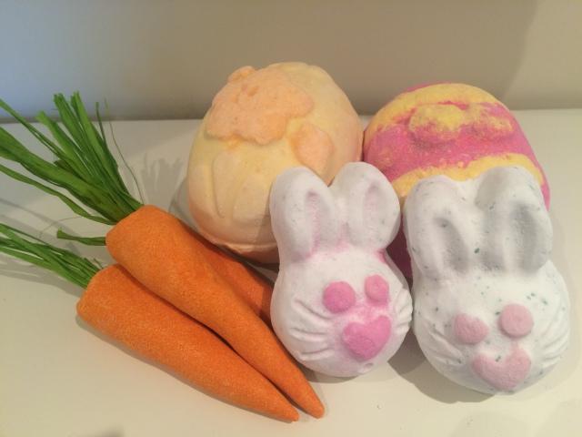 Lush Easter Bath Bombs and Fizzers,, Hippity-hoppity bath bomb, bunch of carrots, eggceptional fizzer
